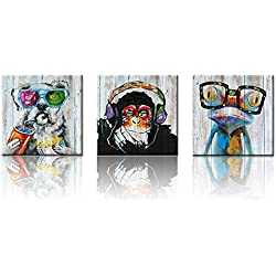 """Animals Canvas Wall Art,Modern Gorilla Monkey Music Oil Painting Wall Painting Happy Dog Frog Canvas Painting Home Decor Animal Prints (16""""x16""""x3 Retro)"""