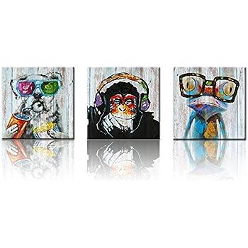 XXLarge Retro Animals Canvas Wall Art,Vintage Gorilla Monkey Music Painting Prints Happy Dog Frog Giclee Canvas Prints Home Decor Animal Prints (32