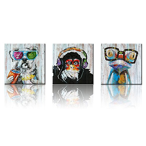 Vintage Animals Canvas Wall Art,Modern Gorilla Monkey Music Giclee Canvas Prints Wood Background Happy Dog Frog Canvas Painting Home Decor Animal Prints Home Wall Decoration (24