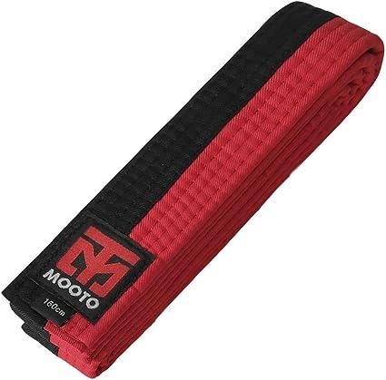 Mooto Poom Belt 4cm Wide Single Wrap Black Red TKD Taekwondo MMA Straps 160 180