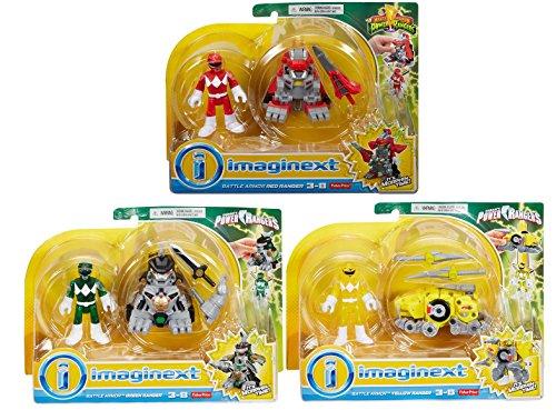 Fisher Price Imaginext Mighty Morphin Power Rangers Battle Armor Ranger 3 Pack Gift Set Including the Battle Armor Red Ranger, Battle Armor Green Ranger , and Battle Armor Yellow Ranger Figures