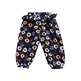 Genuo Toddler Baby Girls Floral Print Summer Long Pants Casual Bloomers Blue Sunflower 90