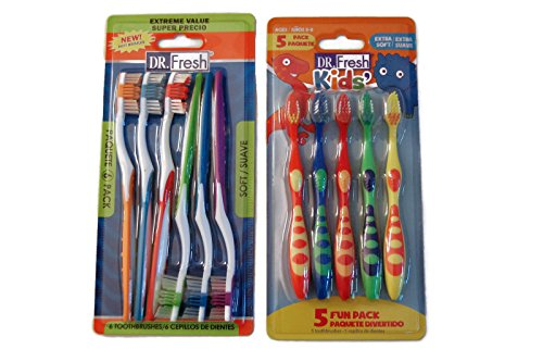 Dr. Fresh family pack toothbrushes-5 kids and 6 adults