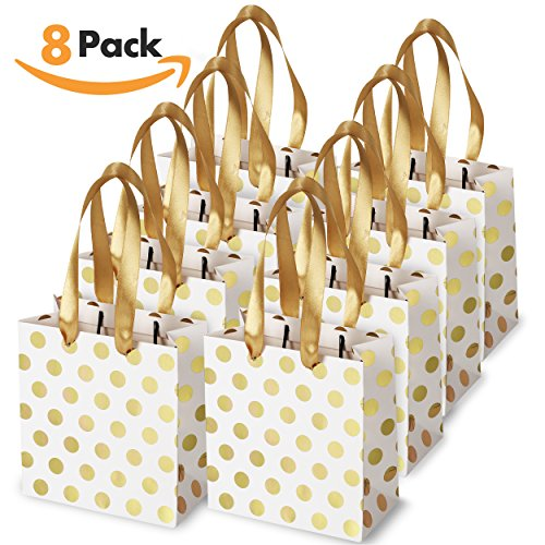 Small Baby Gift - Small Gift Bags with Ribbon Handles: Gold Mini Gift Bag, for Birthday Weddings Christmas Holidays Graduation Baby Showers (Metallic Dots 8 Pack Bulk)