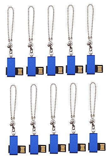 FEBNISCTE 10 Pack Swivel Mini Blue 1GB USB 2.0 Memory Stick