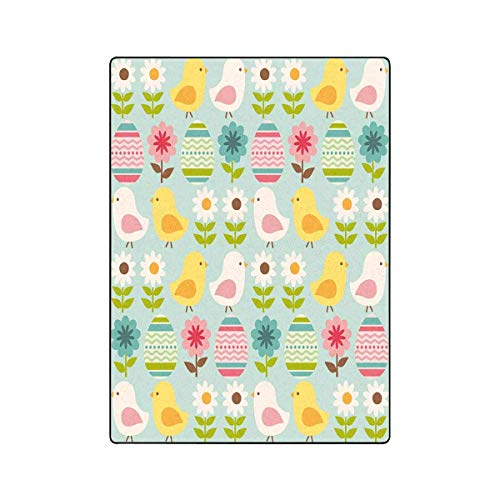 "INTERESTPRINT Easter Chicks and Eggs All Seasons Couch Blanket Travelling Camping Blanket 58""x 80"""