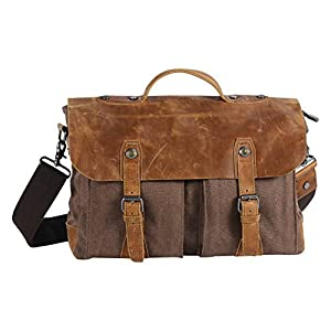 Wonder Youth Vintage Messenger Bag, Canvas and Genuine Leather Briefcase Shoulder Laptop Bag (Brown)