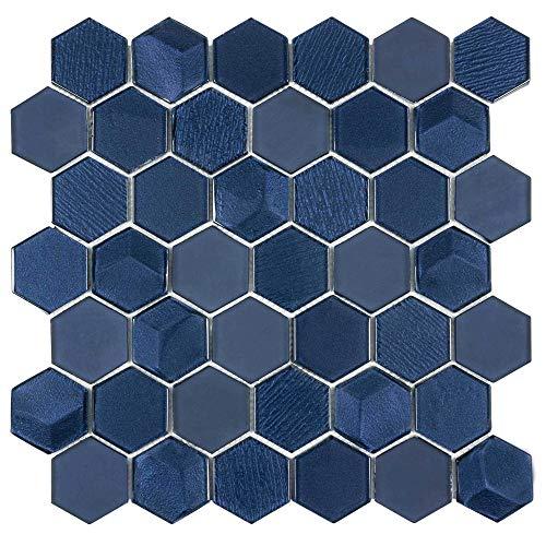 - MTO0338 | Modern Hexagon Blue Glass Mosaic Tile