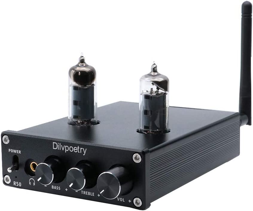 Dilvpoetry R50 6J4 Tube Amplifier HiFi Audio Stereo Digital Amplifier Headphone Amplifiers Bluetooth Treble Bass Desktop Preamplifier Preamp(Black)