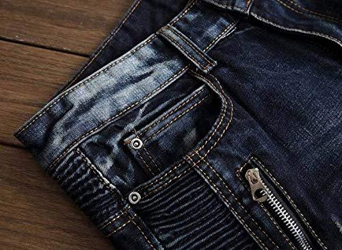 Strappati Slim Giovane Libero Tempo Blu Casual Pieghettati Straight Uomo Di Fit Skinny Cotone Da Cher Con Zipper Fori Jeans Pantaloni F0gOwqF