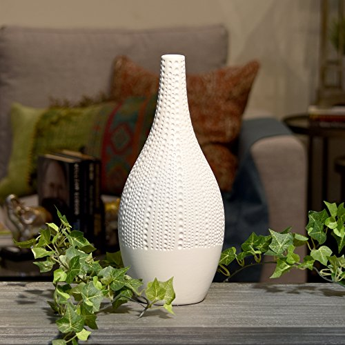 Urban Trends Ceramic Bellied Round Long Neck, Smooth Banded Rim, Pimpled Design Body, and Tapered Bottom MD Matte Finish White Vase,