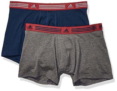 adidas Men's Athletic Stretch Trunk Underwear (2-Pack), collegiate navy/Noble maroon heather/dark grey, Medium