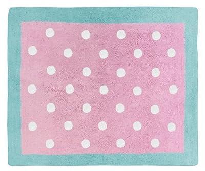 Sweet Jojo Designs Turquoise and Pink polka Dot Skylar Girls Accent Floor Rug