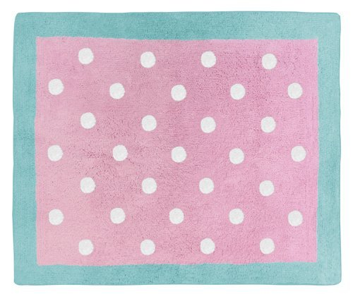 Turquoise-and-Pink-Polka-Dot-Skylar-Girls-Accent-Floor-Rug
