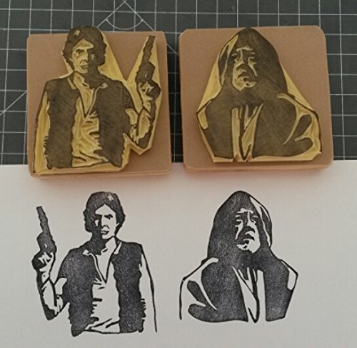 Star Wars 3 - Hand carved rubber stamp set. Han Solo and Obi Wan Kenobi