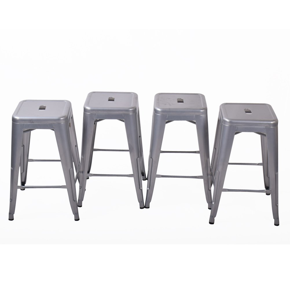 26'' Backless Metal Counter Stool Height Barstools [Set Of 4] for Indoor/Outdoor Bar Stools, Silver