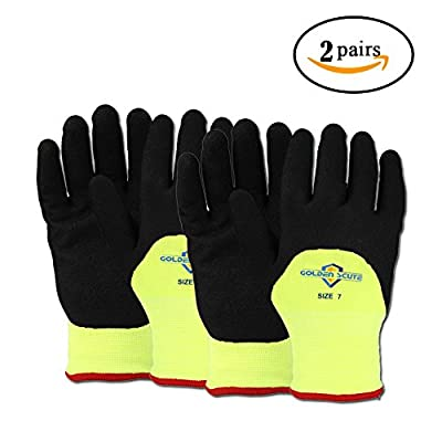 Golden Scute Hi Vis Freezer Work Gloves, Touchscreen Applied, Nitrile Coated on Palm and Fingers, Cold Weather Gloves for Shoveling Snow, Outdoor Heavy Duty Work, 2 Layers, 2 Pairs