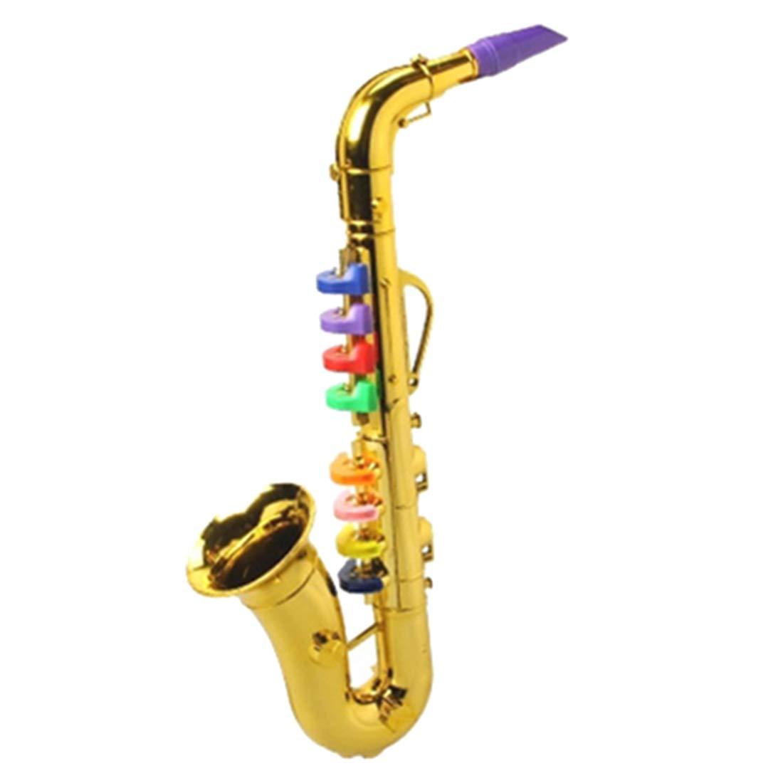 AMITAS Saxophon Kinder 8 T/öne Musikinstrumente Kinder Saxophon Spielzeug 8 farbigen Tasten//Noten f/ür Kinder ab 3 Jahre Golden