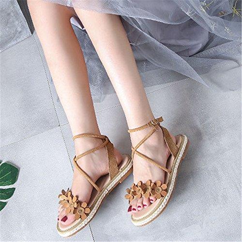 Colore Dimensione 36 GSCshoe Flowers Sandals Albicocca Comfortable Lady Albicocca EU Cute q780wC0nX6