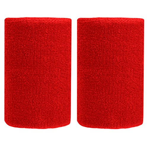BBOLIVE 4 Inch Wrist Sweatband in 13 Different Neon Colors - Athletic Cotton Terry Cloth-Great All Outdoor Activity(1 Pair) (Red)