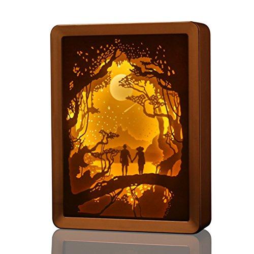 LEDMOMO Lampe de table USB relaxante Papercut Light boxes Chambre salon lampe d'ombre 3D pour les enfants et les adultes (Champaign Gold)