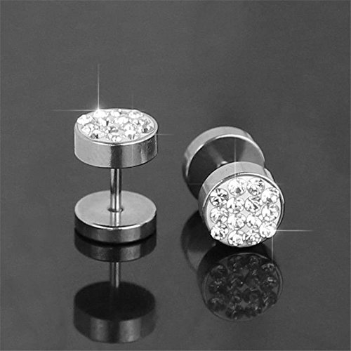 SODIAL(R) 2 Pcs Barbell Punk Stainless Steel Crystal Ear Studs Earrings Silver