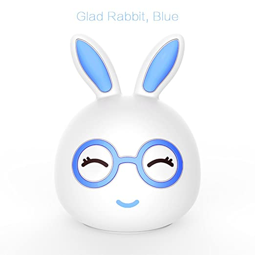 70c8132323 Night Light Cute Children Kids LED Silicone Baby Nursery Lamp Sensitive Tap  Control 7 Single Colors and Multi-Colour Breathing Bunny Light by lvtong  Blue02 ...