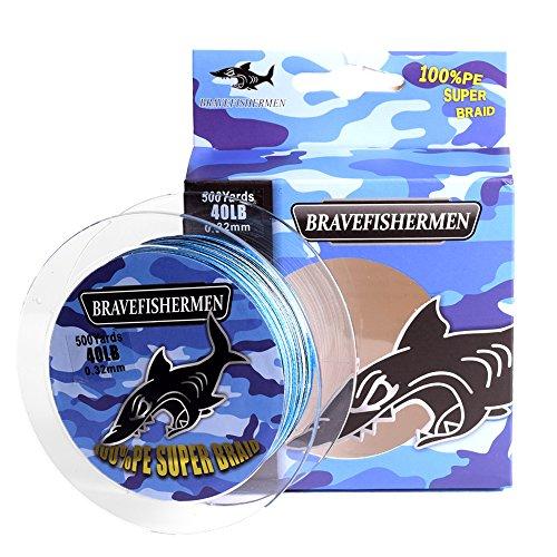 Bravefishermen Super Strong Pe Braided Fishing Line 8LB to100LB and 100Yard to 500Yard (Blue Camo, 300Yard/60LB)