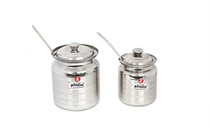 Kaveri PLT KK Oil Can S2-4, steel Traditional Ghee Pot steel Container, 2pcs set