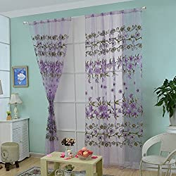 Fenta Door Window Sheer Sunflower Floral Drape Panel Balcony Curtain Scarfs Valances (purple (big flower))