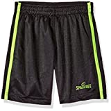 Spalding Little Boys' Core Athletic Short, Black/Highlighter, 5/6