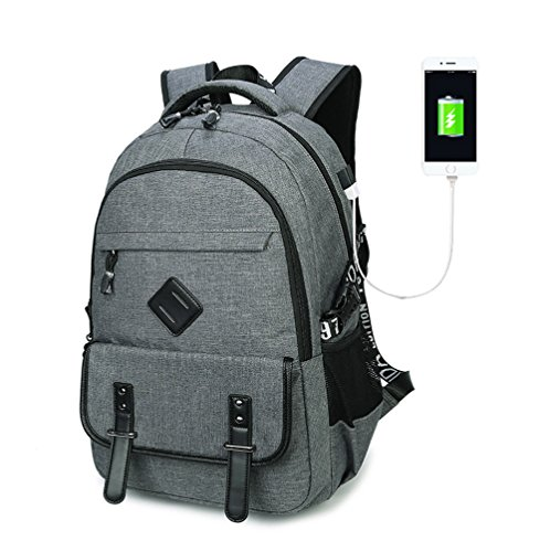 Furivy Multifunctional Oxford Water-resistant College Student School Business Travel Laptop Shoulder Bag Backpack with USB Charging Port Gray