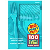 Amscan Big Party Pack 100 Count Mid Weight Plastic Forks, Caribbean