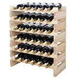 Smartxchoices 36 Bottle Stackable Modular Wine Rack Small Wine Storage Rack Free Standing Solid Natural Wood Wine Holder Display Shelves, Wobble-Free (Six-Tier, 36 Bottle Capacity) Review