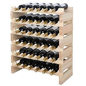 Smartxchoices Stackable Modular Wine Rack Stackable Storage Stand Wooden Wine Holder Display Shelves, Wobble-Free, Solid Wood