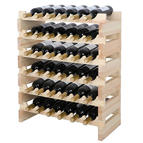 Smartxchoices 36 Bottle Stackable Modular Wine Rack Small Wine Storage Rack Free Standing Solid Natural Wood Wine Holder Display Shelves, Wobble-Free (Six-Tier, 36 Bottle Capacity) (Best Wood For Wine Racks)