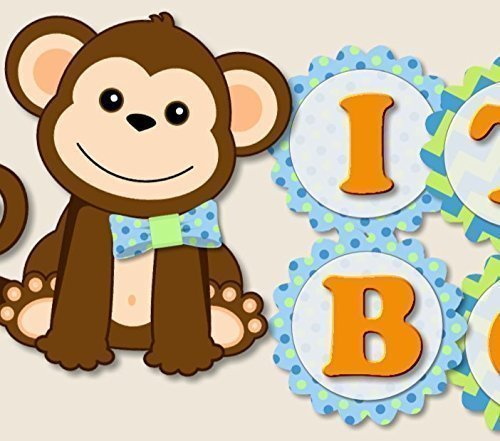 Monkey Baby Shower Banner Party Theme Decorations for Boy -