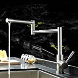 Rotatable Pot Filler Kitchen Faucet Complete Set, Wall Mounted Ceramic Valve Single Handle One Hole, Stainless Steel Finish