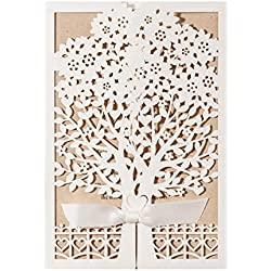 50PCS Wedding Invitation Rustic Laser Cut Wedding Invitations Cards with Kraft Paper Insert for Engagement Baby Shower Birthday Quinceanera Tree Ribbon Lace (Ivory)