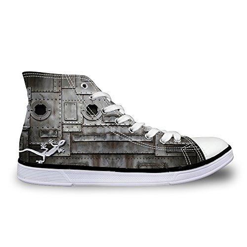 Fashion Gray Gecko Casual Men's Top DESIGNS Shoes FOR High Working Sneakers Print U Cool 1 Canvas awtpxxq6z