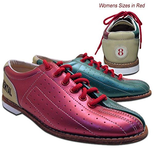Bowlerstore Womens Classic Elite Rental Bowling Shoes (7 1/2 M US, Red/Teal/Tan)