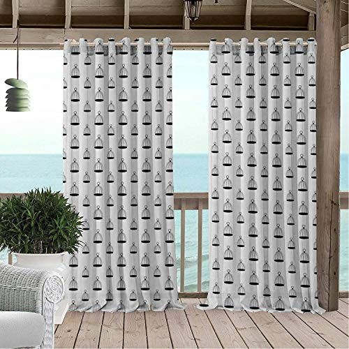 Linhomedecor Patio Waterproof Curtain Birdcage Simplistic Cage Pattern Old Fashioned Ornamental Retro Monochrome Design Black and White Porch Grommet Party Curtains 108 by 108 -