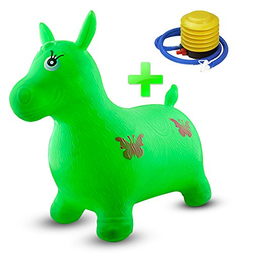 Horse Hopper Gimilife Inflatable Horse Bouncer Seat  Pump Included  Jumping Horse Space Hopper  Ride On Bouncy Animal Hopper  Sit And Bounce For Children Kids   Green