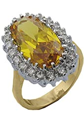 21.8 cw CZ, Gold Overlay Golden Champagne CZ Ring