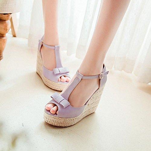 LvYuan Sandalias del verano de las mujeres / oficina y carrera / talón ultra atractivo del alto / plataforma impermeable / talón de cuña del lino / zapato de la pío-dedo del pie Bowknot / zapatos roma Pink