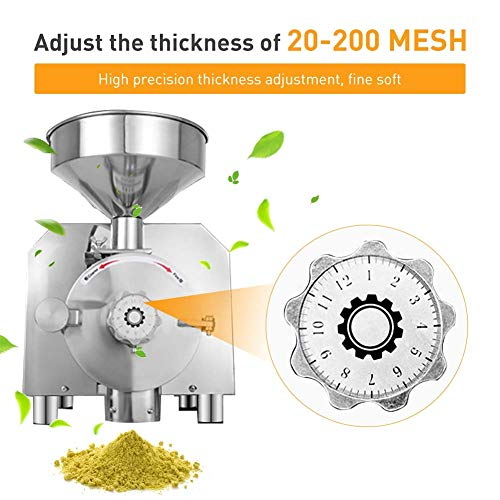 Large Commercial Grain Grinding Industrial Machine Electric Beer Grain Mill Grinder Nutri Mill Flour Motorized Stainless Steel Barley Crusher for Wheat Corn Coffee Pepper Soybean, 30-50kg/h (2200W) by Rbaysale (Image #4)