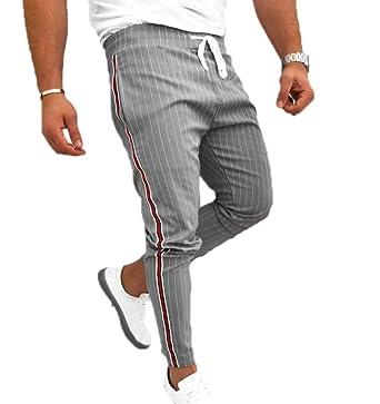 Huateng Hombre Rayas de Cintura elástica Pantalones de ...
