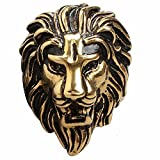 gold lion head ring - Men's Gothic Stainless Steel Band Rings Cool Big Lion Head Tribal Rock Punk Biker Rings Gold Black Size 11