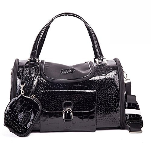 BETOP HOUSE Fashion Dog Carrier PU Leather Dog Handbag Dog Purse Cat Tote Bag Pet Cat Dog Hiking Bags (M, Black)