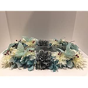 WEDDING ARRANGEMENT - X-LARGE FLORAL ARRANGEMENT - TEAL HYDRANGEA, MAROON BERRIES, CREAM WHITE ZINNIAS AND ROSES, BLUE/GRAY CABBAGE ROSES, AND TEAL BUTTERLIES 109